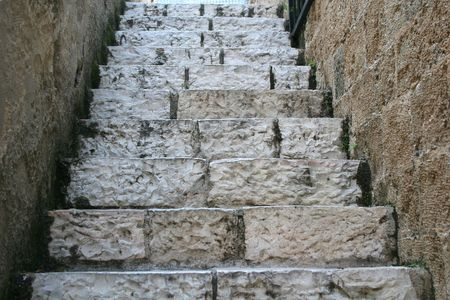 jaffa: Old stone steps in one of the many alleys in the old port city of Jaffa, Israel