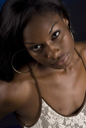 apprehension: Beautiful African American woman in studio - several expressions - fashion wardrobe