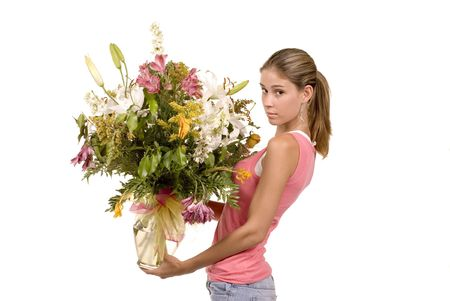admirer: Expressive blond model in studio holding fresh bouquet of floers Stock Photo
