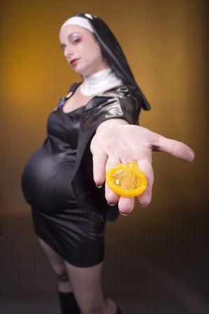 nun: humorous costume pregnant nun