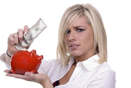 accrue: Cute blond girlwoman with a $100 bill - perfect for savings, income, bank, etc. Stock Photo