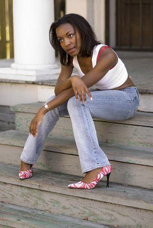 early 20s: Poco m�s de 20 a�os African American mujer - retrato emocional disparos  Foto de archivo