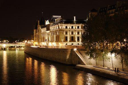 a nocturne: Conciergerie at night - Paris - France Stock Photo