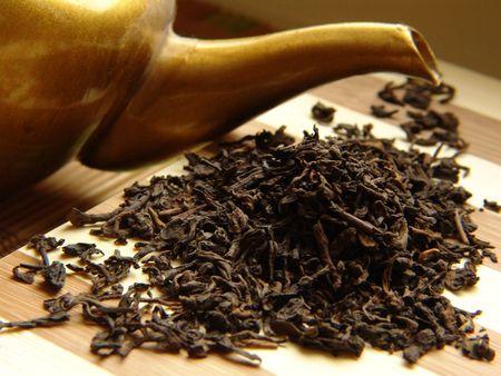 Pu-Erh tea and tea-pot. Stock Photo