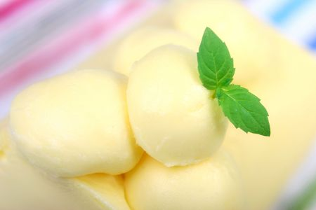 Butter with fresh mint leaf. photo