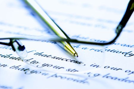 financial official: Business letter with glasses and pen. Stock Photo
