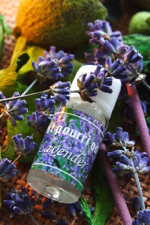 SPA lavender composition with bottle of oil.
