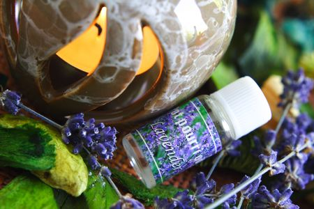 SPA lavender composition with bottle of oil. photo
