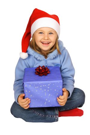 Girl in red Santa Claus with present.
