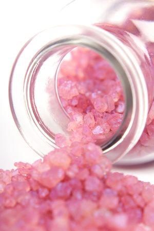 Bottle of lavender mineral salt. Stock Photo