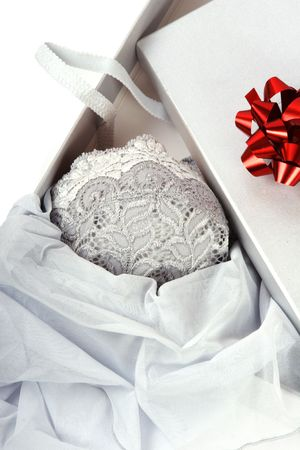 Romantic gift: box with womans underwear.