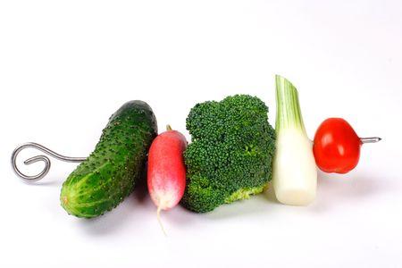 Vegetable shashlik Stock Photo