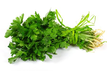 herbalist: Bunch of green parsley sprigs Stock Photo