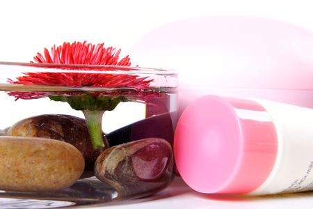 SPA composition: cosmetics, bowl with naianting daisy and stones.