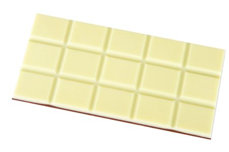 White and brown chocolate bar isolated.