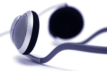 Silver headphones Stock Photo