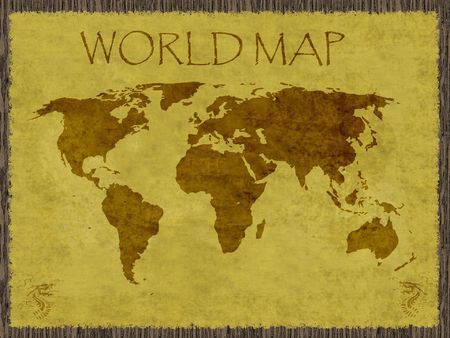 World map with dragons at lower corners on aged paper attached to wood board