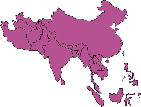 Map of Southern Asia, Colored