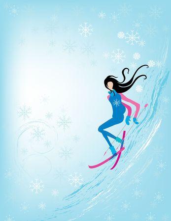 Skiing girl photo