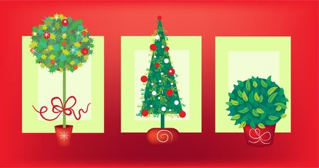 Pretty Christmas card design with 3 trees photo