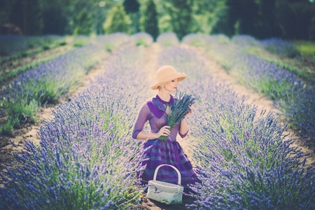 woman in field: Woman in purple dress and hat with basket in lavender field