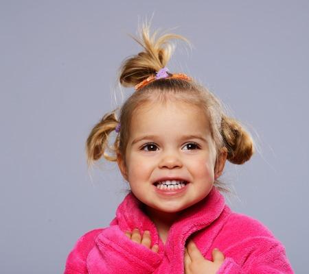 little girl bath: Funny little girl in dressing gown