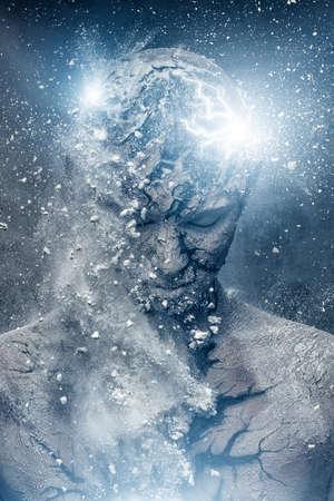 kopf: Mann mit konzeptionellen spirituelle Kunst am K�rper