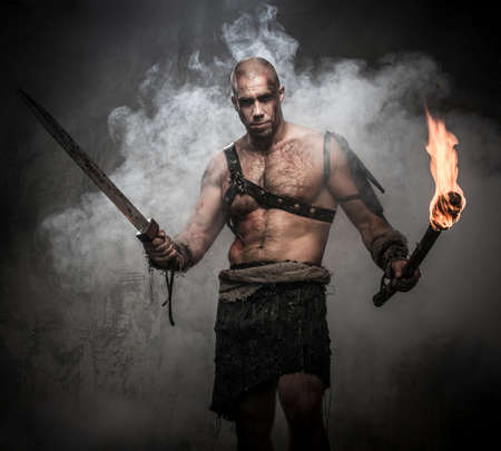 ancient warrior: Gladiator standing in a smoke with torch and sword