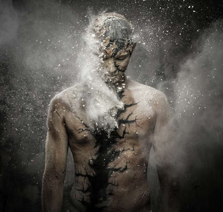 immortal: Man with conceptual spiritual body art