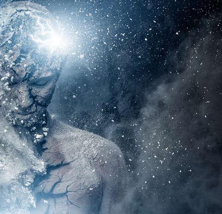 psiquico: El hombre con el arte del cuerpo espiritual conceptual Foto de archivo
