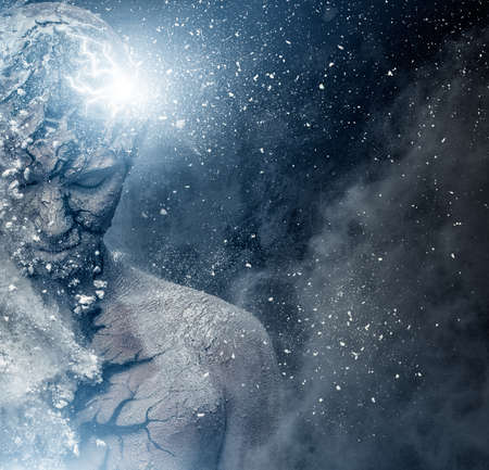 mind body soul: Man with conceptual spiritual body art