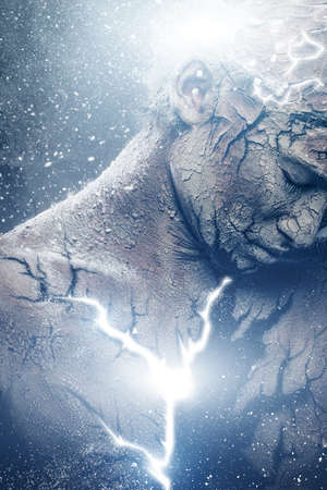 irradiation: Man with conceptual spiritual body art