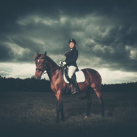 Beautiful girl sitting on a horse outdoors against moody sky photo