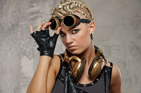 steampunk: Close-up of attractive steam punk girl