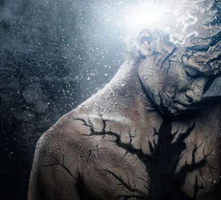 extrasensory: Man with conceptual spiritual body art