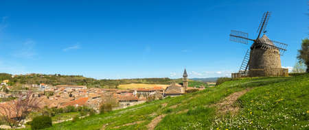 bell tower: Panoramic view of old Lautrec village, France