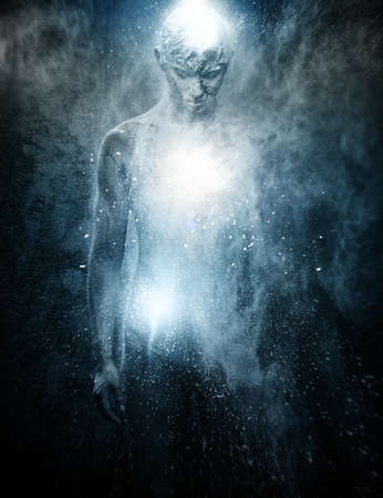 Man with conceptual spiritual body art Stock Photo - 24647205