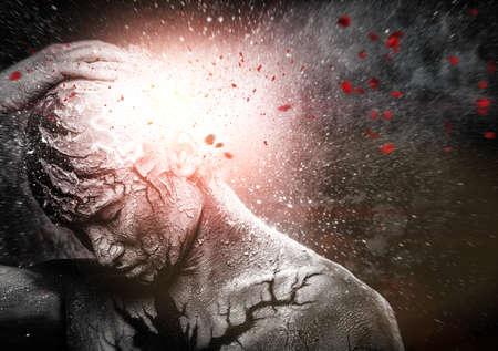 energia espiritual: El hombre con el arte del cuerpo espiritual conceptual Foto de archivo