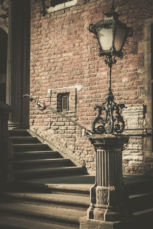 streetlight: Steps with vintage lamppost in Gdansk, Poland