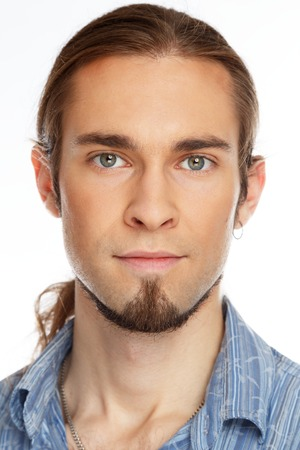 man with long hair: Young handsome man with beard