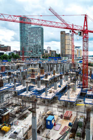 housing industry: Construction yard in a modern city