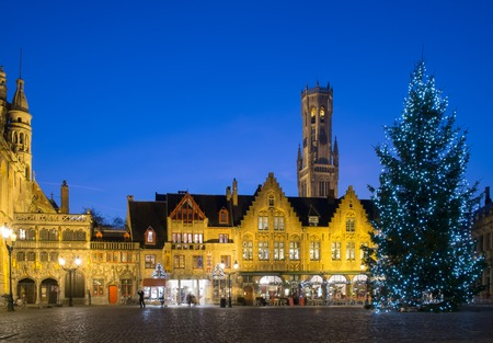 brugge: Illuminated Christmas tree on a Burg square in Bruges, Belgium Stock Photo
