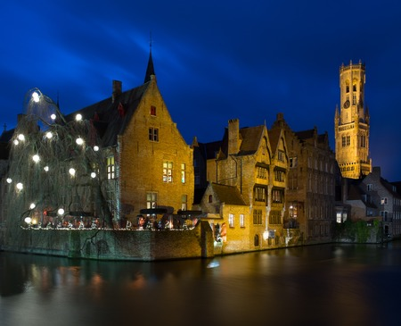 brugge: View of a decorated quay in Bruges, Belgium