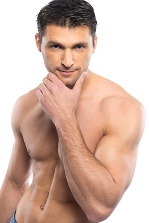 hombre desnudo: Apuesto joven con el torso desnudo