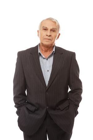 Senior man wearing suit isolated on white  Stock Photo - 26322401