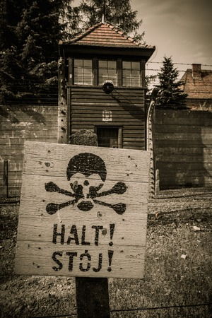 Electric fence in former Nazi concentration camp Auschwitz I, Poland photo