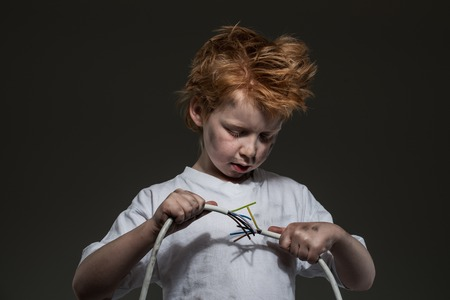 electric wires: Little redhead bad boy with wires