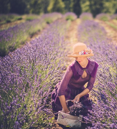 Woman in purple dress and hat with basket in lavender field  photo