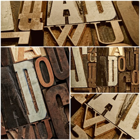 Vintage letter prints collage photo