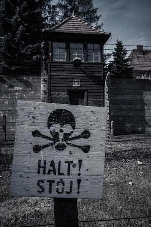 Stop sign in former Nazi concentration camp Auschwitz I, Poland photo